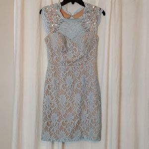 City Studio Light Blue Lace Dress